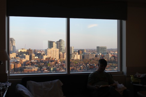 The gorgeous view of Boston from my daughter's window.