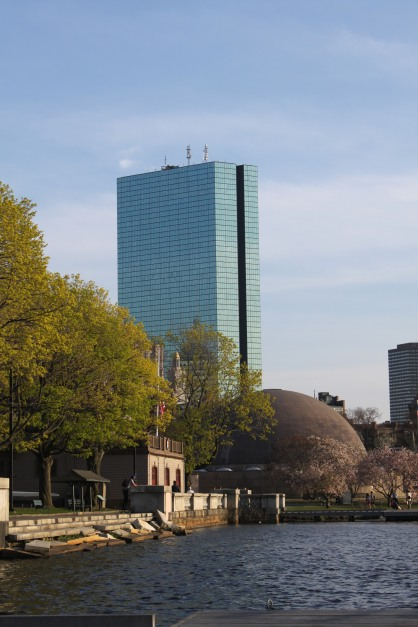 John Hancock Tower and the back of the Hatch Shell
