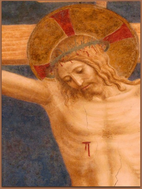 Detail of fresco, Saint Dominic Adoring the Crucifixion by Fra Angelico 1441-1442