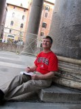 Leaning on a column of the Pantheon, Rome, Italy