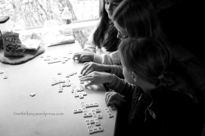 Bananagrams on a rainy morning