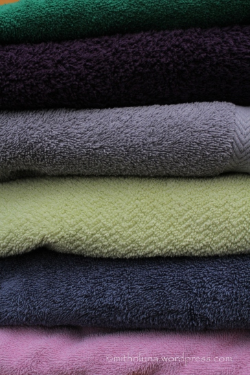 In truth, folded laundry is not an ordinary occurrence in our home, but unfolded towels are not very photographic.