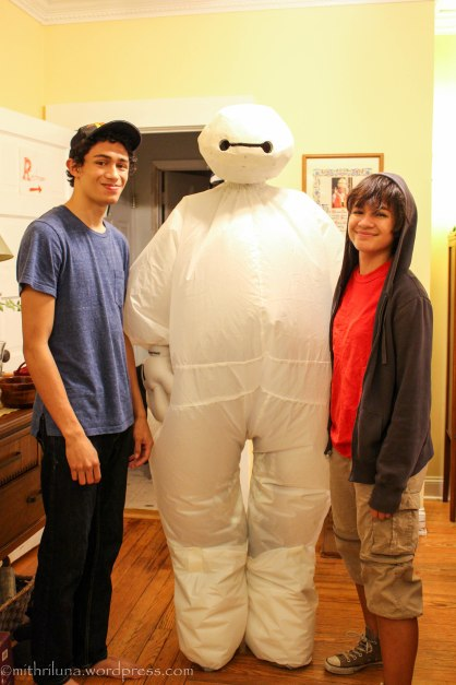 Some of my kids on Halloween - Big Hero 6 characters - that is a daughter in the Baymax costume which she put together herself. She is standing on stilts
