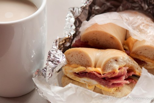 "New Jersey comfort food - egg, cheese, and taylor ham on a bagel and ""cawfee"""