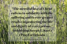 """The merciful love of Christ calls us to solidarity with the suffering and to ever greater resolve in protecting the life and dignity of every person."""