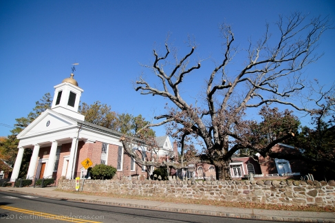 Using a wide angle lens to get the tree and the church in the shot.